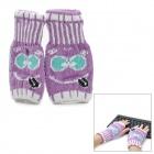 Smiling Face Style Warm Fingerless Computer Typing Woolen Gloves for Woman - Purple (Pair)