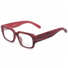 HongChang Wooden Style Frame Square Lens Spectacles Eyeglasses - Purplish Red + Black