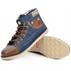 Cutdeer A1051 Fashion Denim Fabric Canvas Casual Shoes - Jeans Blue + Brown (Size 43)