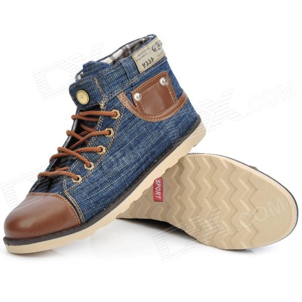 Cutdeer A1051 Fashion Denim Fabric Canvas Casual Shoes - Jeans Blue + Brown (Size 41) - Free ...