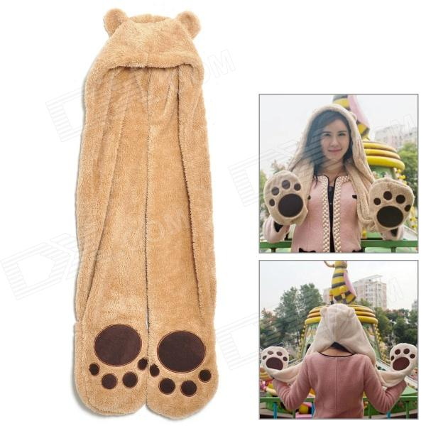 3-in-1 Bear Hat Long Paws Scarf Mittens Glove Set - Light Brown bonjean new soft warm animal cap panda stitch giraffe cute cartoon plush hat earmuffs with long scarf gloves for women men adult