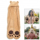 3-in-1 Bear Hat Long Paws Scarf Mittens Glove Set - Light Brown