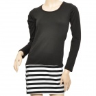 Lady's Temperament Slim Striped Long Sleeve Dress - Black + White (Size M)