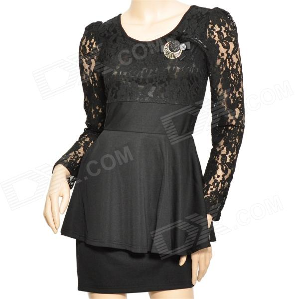 Lady' s Slim Autumn Splicing Lace Long Sleeve Dress w/ Corsage - Black (Size L)