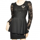 Lady&#039; s Slim Autumn Splicing Lace Long Sleeve Dress w/ Corsage - Black (Size L)