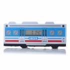 Creative Auto-turning Bus Style Alarm Clock with Music - White + Blue (2 x AAA)