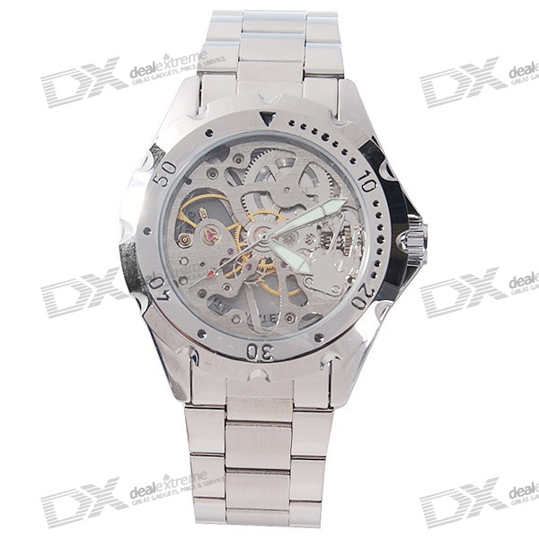 Stylish See-Thru Stainless Steel Semi-Automatic Mechanical Wristwatch lige mens watches top brand luxury automatic mechanical tourbillon watch men luminous stainless steel wristwatch montre homme