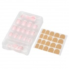 French Style ABS 24-in-1 Artificial Nails Set w/ Dual-Side Adhesive Tape - Pink + White + Silver