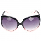 Rollin Caster Resin Lens PC Frame UV400 Protection Sunglasses Goggles - Black + Translucent Pink
