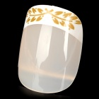 Leaves Pattern ABS 24-in-1 Artificial Nails Set w/ Dual-Side Adhesive Tape - Ivory + Brown