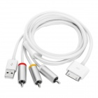 Universal AV / USB Data Cable Adapter for iPhone / iPod / iPad - White