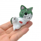 Cute Cat of Chis Sweet Home Plastic Doll Desk Ornaments Set - Green + White (10 PCS)