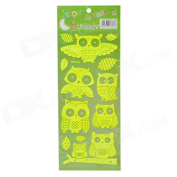 Cute Cartoon Owl Style Home Decorative Glow-in-the-Dark Stickers - Bright Green glow in the dark dog footprint style decoration wall paper sticker green