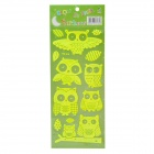 Cute Cartoon Owl Style Home Decorative Glow-in-the-Dark Stickers - Bright Green