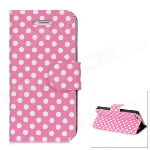 Dot Pattern Protective Flip-Open PU Leather Case for Iphone 5 - Pink + White