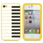 Piano Style Silicone Case for Iphone 4 / 4S - Yellow