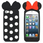 Bowknot Style White Dot Protective Silicone Case for iPhone 5 - Black + Red