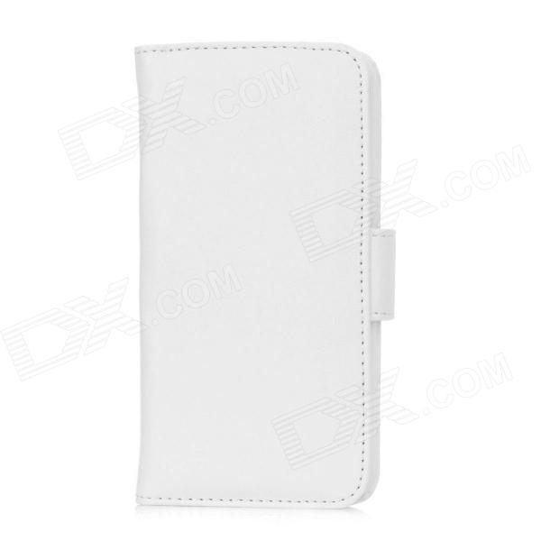 Protective Flip-Open PU Leather Case w/ Card Slots for Iphone 5 - White protective flip open pu case w stand card slots for samsung galaxy s4 active i9295 black