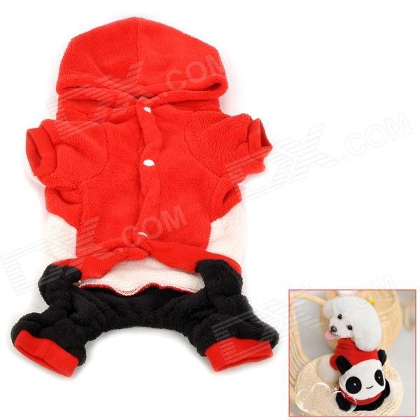Panda Style Pet Dog Apparel 4-Leg Holes Clothes - Red + Black (Size XL)