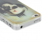 Skull with Headphones Pattern Protective Plastic Case w/ LED Colorful Flash Light for iPhone 4 / 4S