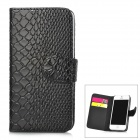 Snakeskin Pattern Flip-Up Open Design Protective PU Leather Case for Iphone 5 - Black