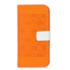 Geometry Pattern Protective Flip-Open PU Leather Case w/ Card Slots for Iphone 5 - Orange