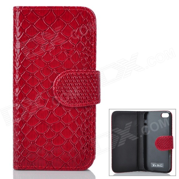 Snakeskin Pattern Flip-Up Open Design Protective PU Leather Case for Iphone 5 - Ruby Red polka dots pattern pu leather flip open protective case for iphone 5 red