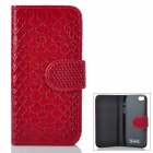 Snakeskin Pattern Flip-Up Open Design Protective PU Leather Case for Iphone 5 - Ruby Red