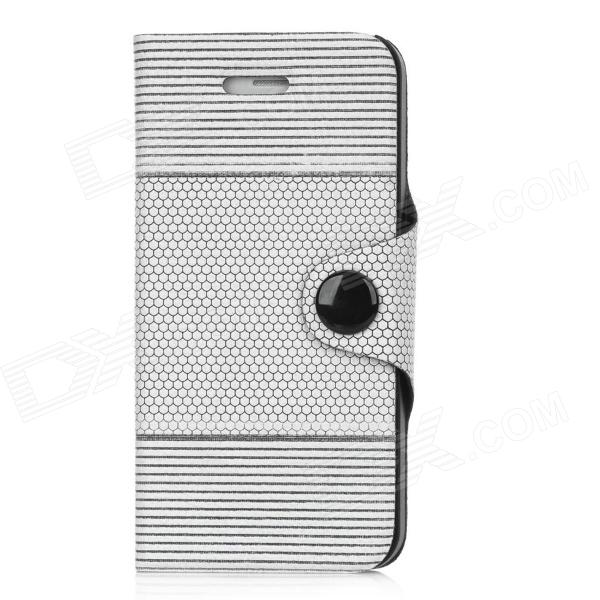 все цены на LX-0911 Protective Honeycomb + Stripes Pattern Flip-Open PU Leather Case for Iphone 5 - Grey + White онлайн