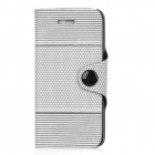 LX-0911 Protective Honeycomb + Stripes Pattern Flip-Open PU Leather Case for Iphone 5 - Grey + White