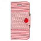 LX-0911 Protective Honeycomb + Stripes Pattern Flip-Open PU-Leder Etui für das iPhone 5 - Red + White