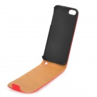 Top Flip-Up Open Design Protective PU Leather Case for Iphone 5 - Red