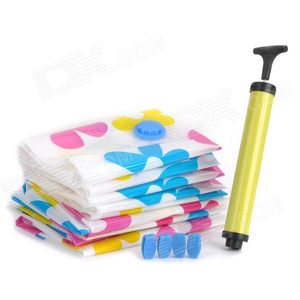 STORAGE DY01 Flower Pattern Space Saver Vacuum Compressed Storage Bags Set W Air Pump 8 PCS