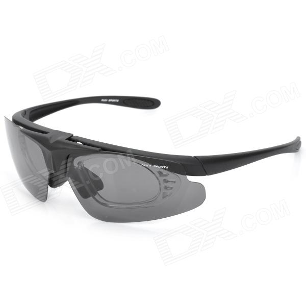 AiPao Men's Cycle Driving Polarized Flip-Up Sunglasses w/ Replacement Lens - Black retro women sunglasses polarized driving sun glasses with pc metal hinge shades uv400 protection gafas de sol mujer 4 colors
