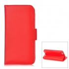 Klapp Open Design Protective PU Ledertasche w / Kartenhalter für iPhone 5 - Red