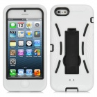 Robot Style Protective Silicone + Plastic Case w/ Holder Stand for iPhone 5 - White