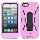 Robot Style Protective Silicone + Plastic Case w/ Holder Stand for iPhone 5 - Pink