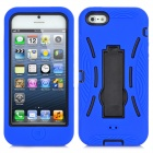 Robot Style Protective Silicone + Plastic Case w/ Holder Stand for iPhone 5 - Blue
