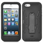 Robot Style Protective Silicone + Plastic Case w/ Holder Stand for iPhone 5 - Black