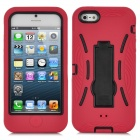 Robot Style Protective Silicone + Plastic Case w/ Holder Stand for iPhone 5 - Red