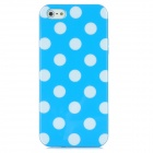 Polka Dots Pattern Protective TPU Back Case for iPhone 5 - Blue + White