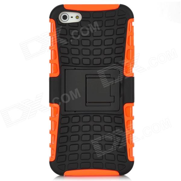 Detachable Protective Silicone + Plastic Case w/ Holder Stand for Iphone 5 - Black + Orange protective detachable plastic case for iphone 5 black