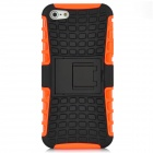 Detachable Protective Silicone + Plastic Case w/ Holder Stand for Iphone 5 - Black + Orange