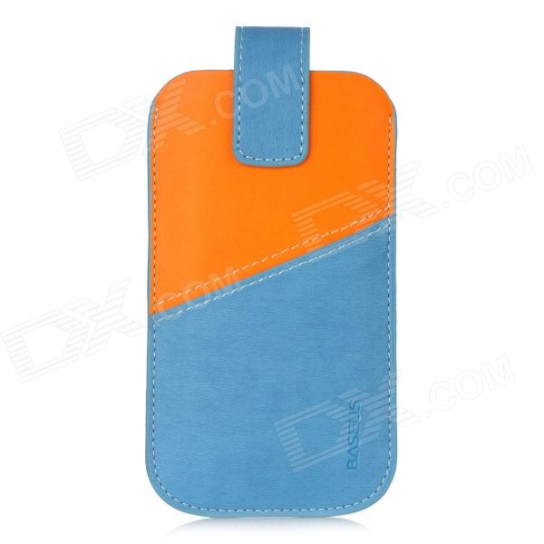 Baseus Color Contrast Design Protective PU Leather Sleeve Case for Iphone 5 - Blue + Orange
