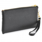 Fashion Woman's PU Dual Zipper Wallet Bag w/ Strap - Black