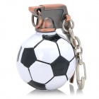 Cross Fire Football Grenade Style Keychain - White + Black + Bronze