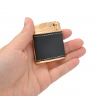 HONEST 2-in-1 Genuine Leather Zinc Alloy Butane Jet Lighter / Ashtray Set - Golden + Black