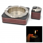 HONEST 2-in-1 Genuine Leather Zinc Alloy Butane Jet Lighter / Ashtray Set - Silver + Brown + Black
