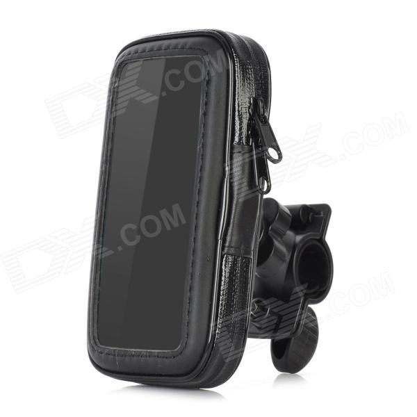 Water Resistant Bicycle Protective Handlebar Plastic Bag Pouch w/ Mount for Iphone 5 - Black