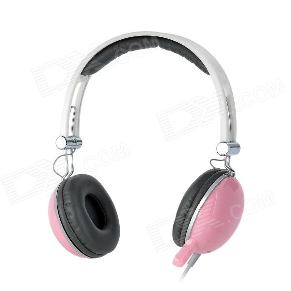 COSONIC CT-668 Stereo Headset Headphones w/ Mic + Volume Control - Pink (3.5mm-Plug / 200cm-Cable)